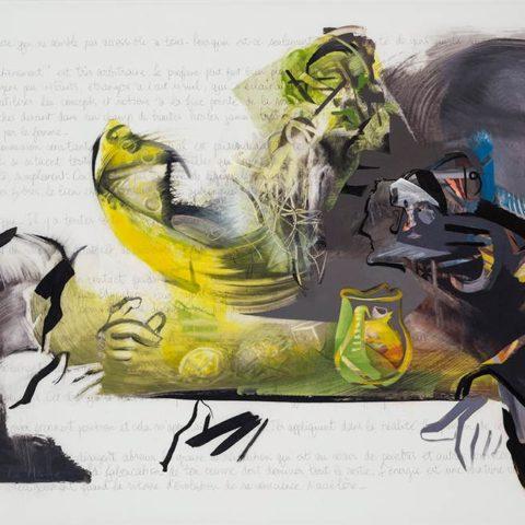 Au souper chez Caravage, acrylique sur mylar, 108 x 168 cm, 2013