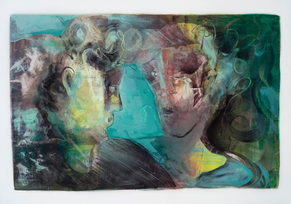 Believe Me, acrylic and crayon on mylar, 72 x 101 cm, 2016