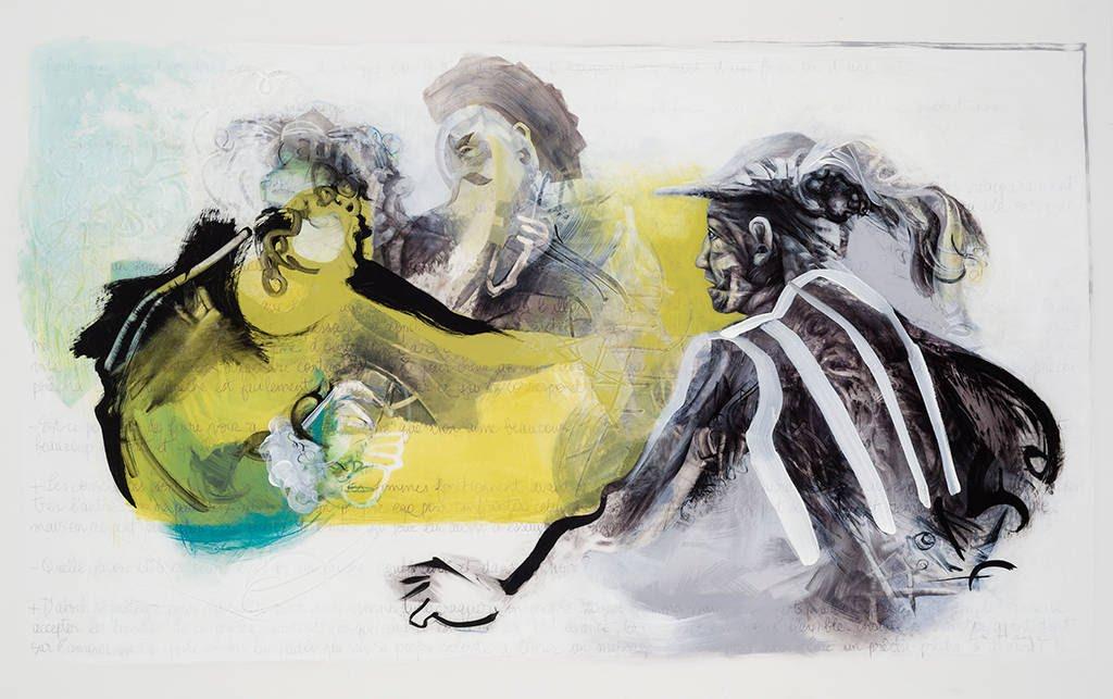 You Cheat, acrylic and crayon on mylar, 108 x 168 cm, 2014