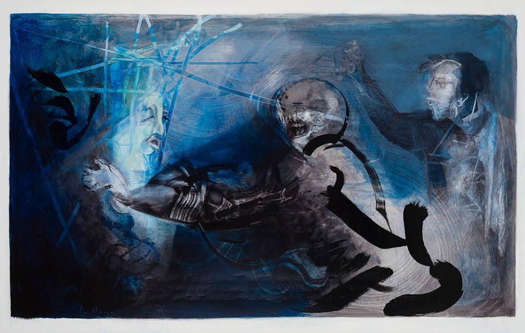 Capturé enfin, acrylique sur mylar, 108 x 168 cm, 2014