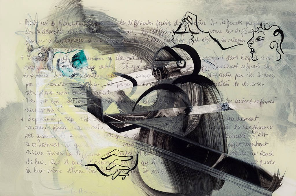 He's Leaving, acrylic and crayon on mylar, 35 x 50 cm, 2014