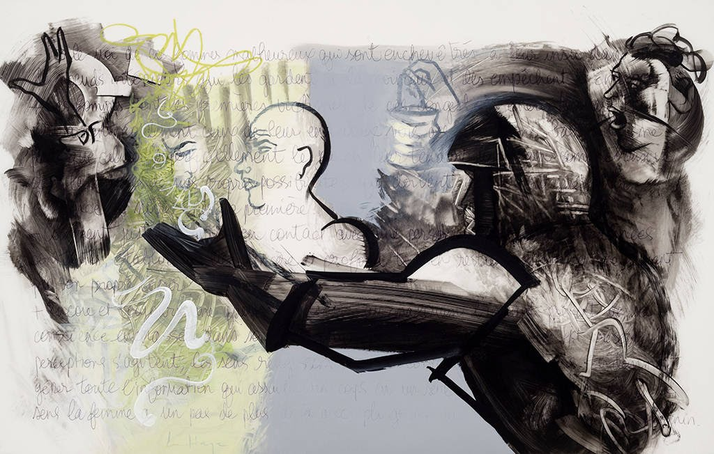 He Escapes, acrylic and crayon on mylar, 54 x 86 cm, 2014