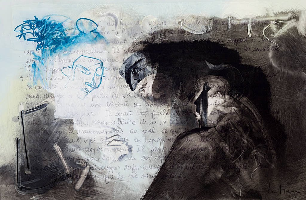 Ils trichent, acrylique et crayon sur mylar, 35 x 50 cm, 2014