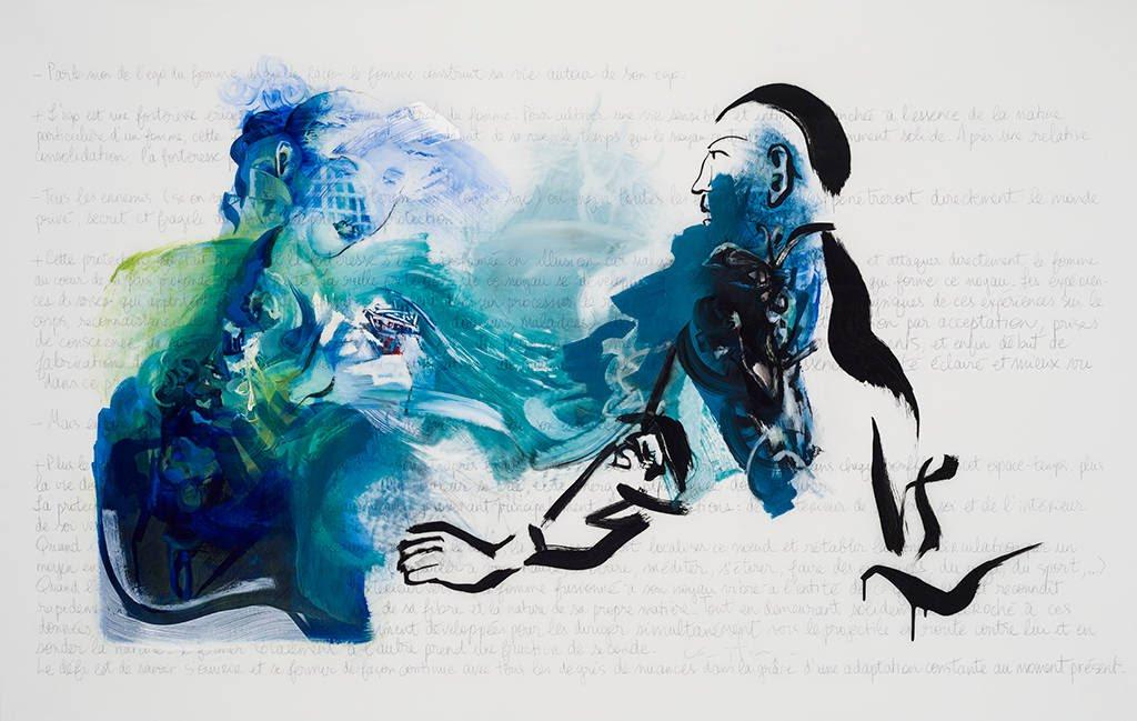 She Wins, acrylic on mylar, 108 x 168 cm, 2014