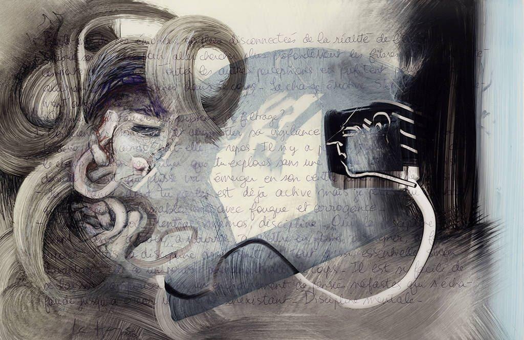 She Wins Again, acrylic and crayon on mylar, 35 x 50 cm, 2014