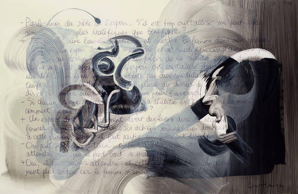 Ok, tu gagnes, acrylique sur mylar, 35 x 50 cm, 2014
