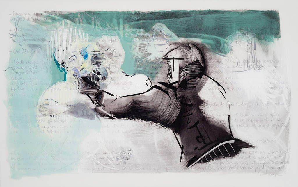Il est ailleurs, acrylique et crayon sur mylar, 108 x 168 cm, 2014