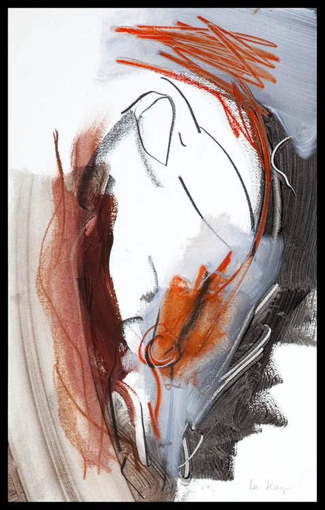 Dessin précurseur, acrylique et crayon sur papier Arches, 50 x 32 cm, 1999