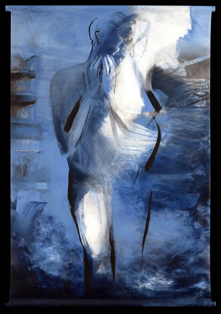 Sommes-nous? acrylique sur toile suspendue, 154 x 108 cm, 2001