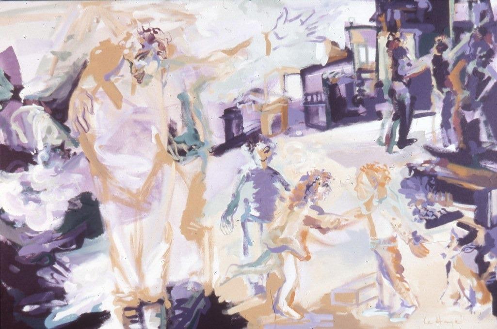 Digérer l'Histoire, acrylique sur toile, 106 x 152 cm, 1993