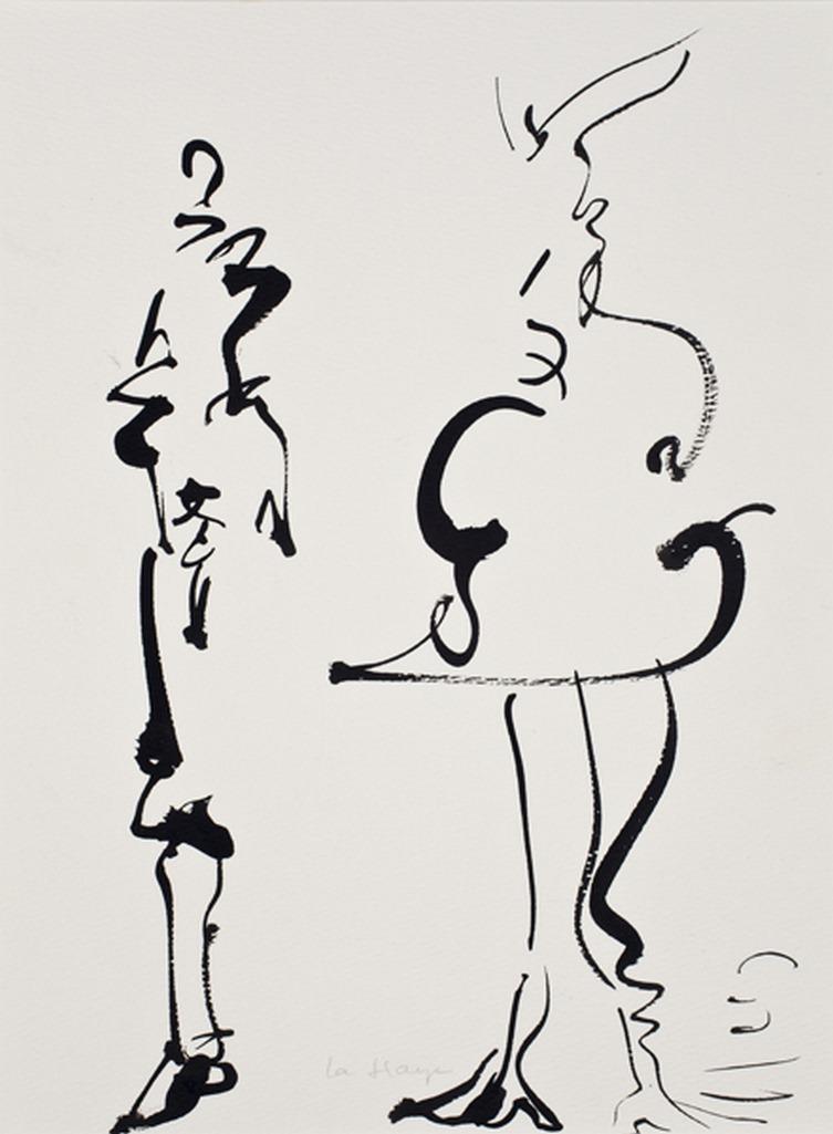 Couple de papier 1, acrylique sur papier Arches, 38 x 28 cm, 2010
