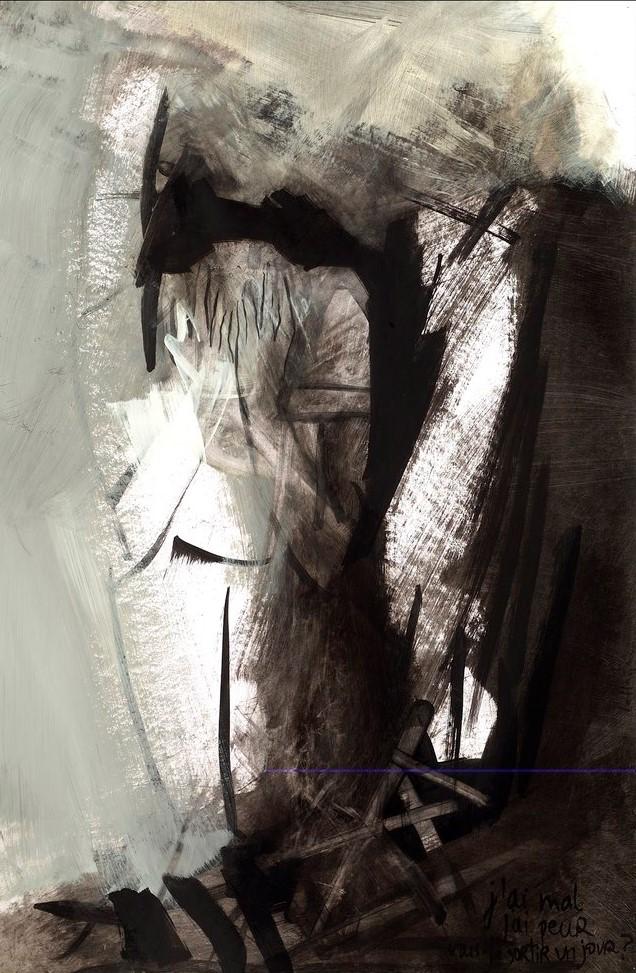 J'ai mal 3, acrylique sur mylar, 42 x 28 cm, 1999