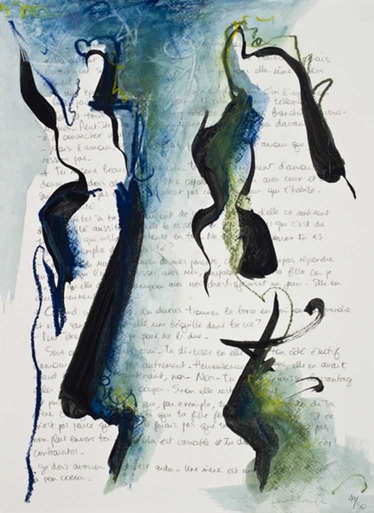 Couple de papier 49, acrylique et crayon sur papier Arches, 38 x 28 cm, 2010