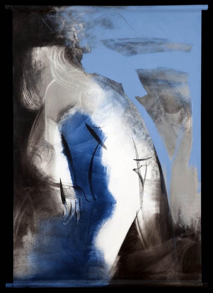 Es-tu? 11, acrylique sur toile suspendue, 154 x 108 cm, 2001