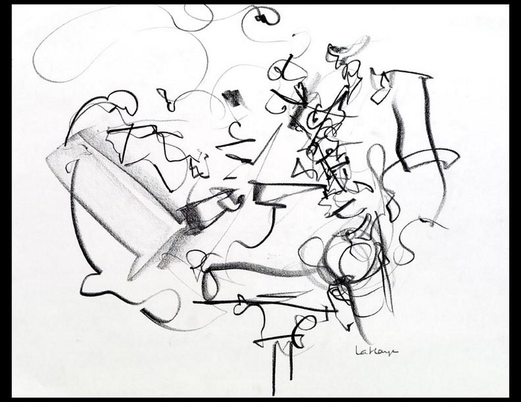 Piano et sax, graphite sur papier, 36 x 44 cm