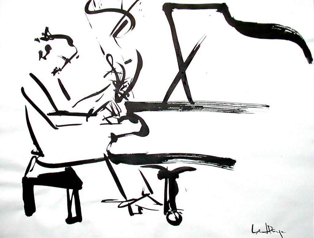 Pianiste, acrylique sur papier Arches, 45 x 60 cm