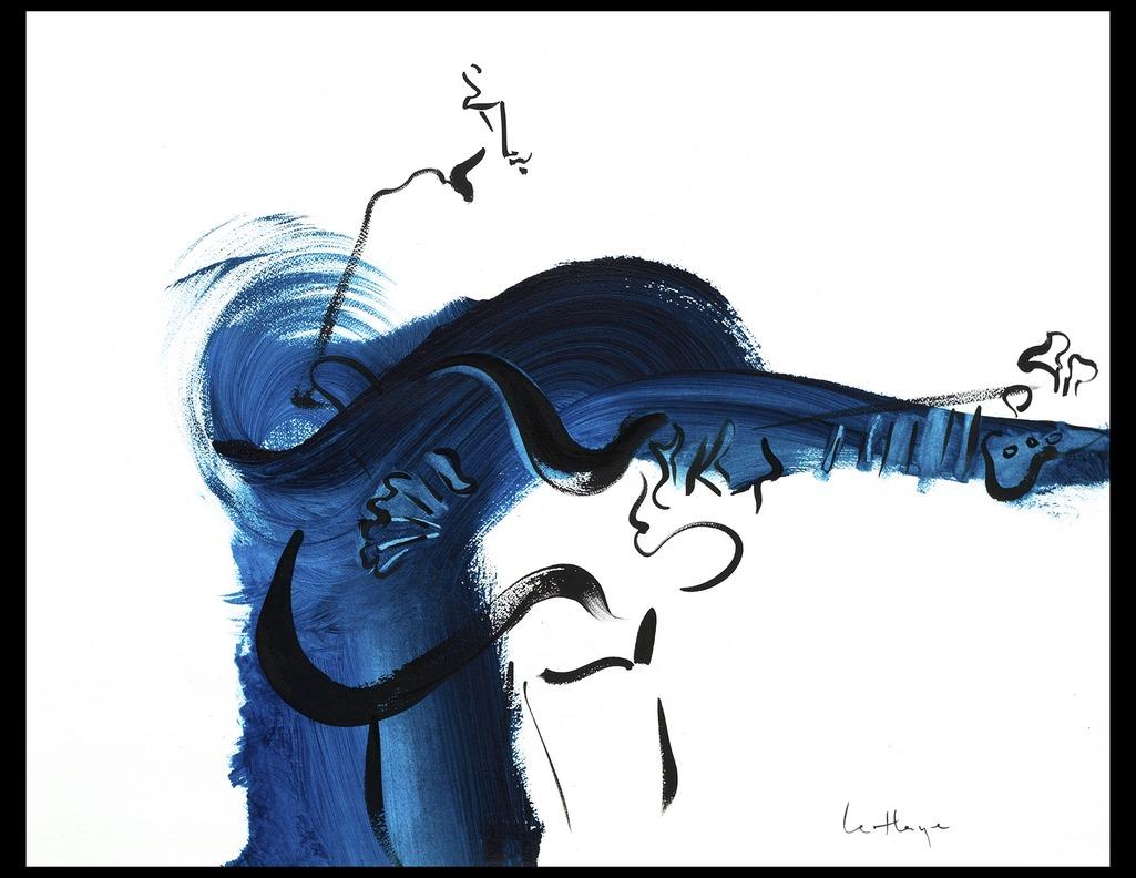 Cordes bleues 2, acrylique sur papier Arches, 45 x 64 cm