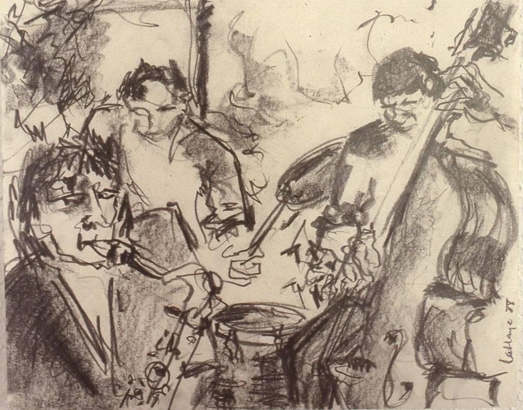 Jazz sur le vif, graphite sur papier, 30 x 46 cm, 1988