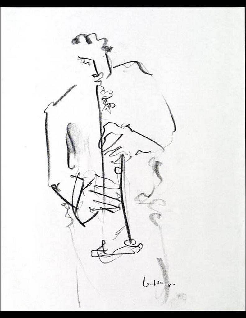 Sax soprano, graphite sur papier, 44 x 36 cm