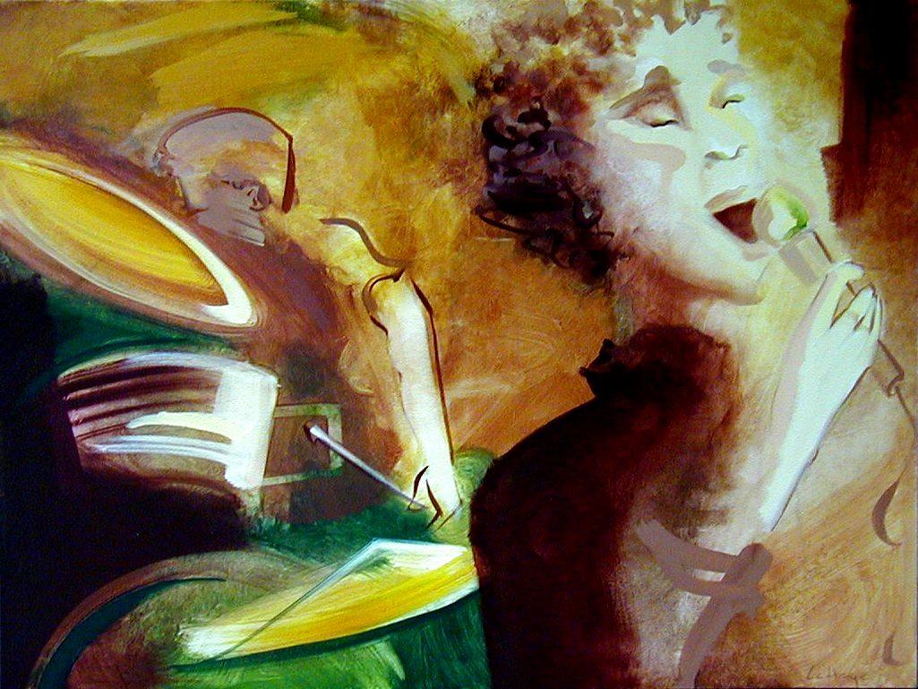 Voix et percussion, acrylique sur toile, 76 x 102 cm