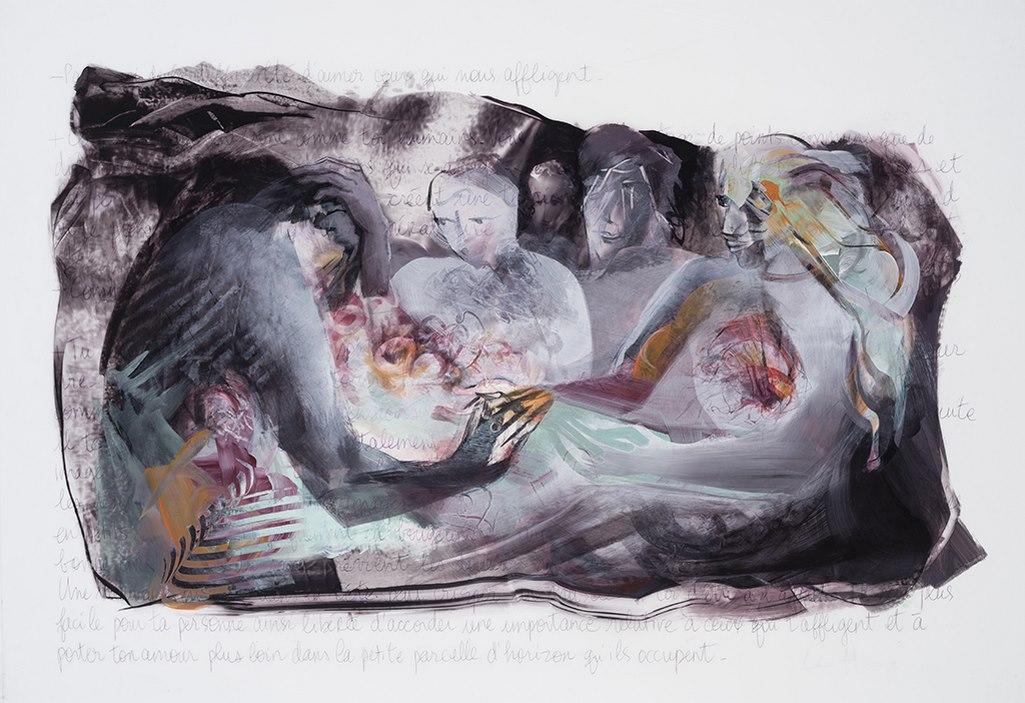 Ensemble, acrylque et crayon sur mylar, 72 x 101 cm, 2016