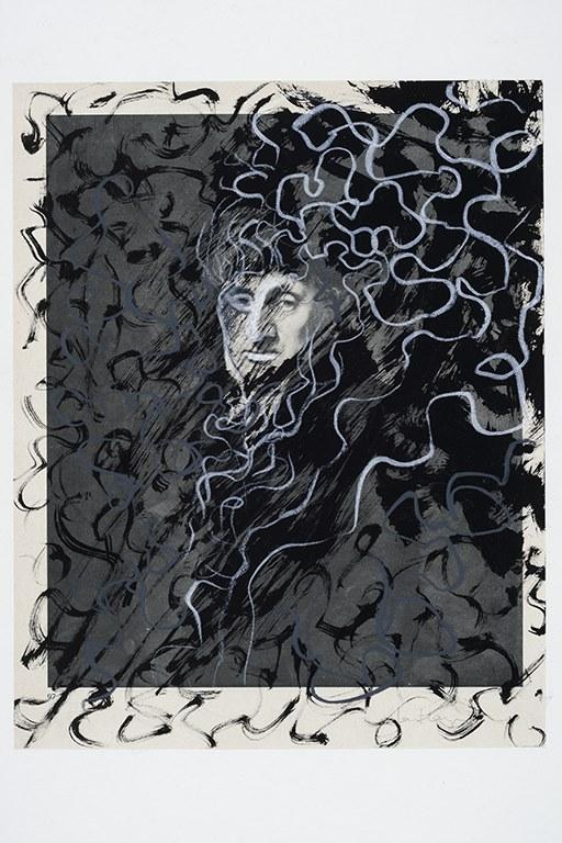 Portrait 2, encre et crayon sur page de livre, 30 x 23 cm, 2018