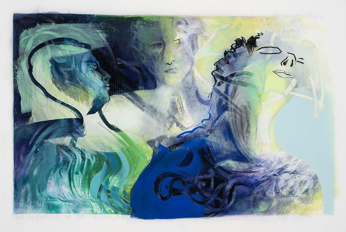 Vivre ailleurs, acrylique et crayon sur mylar, 72 x 101 cm, 2018