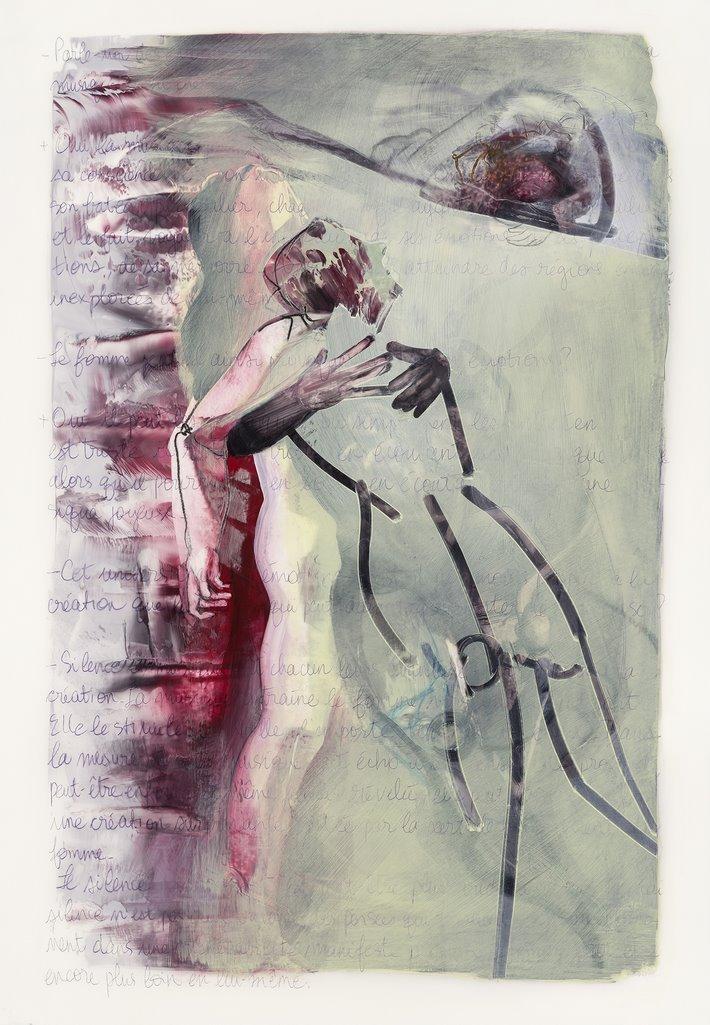 Après moi, acryique et crayon sur mylar, 101 x 72 cm, 2018