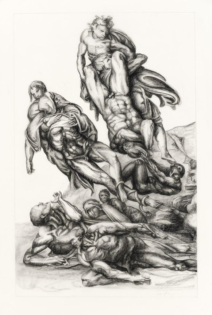 Ne me juge plus mais aide-moi, graphite et conté sur mylar, 101 x 72 cm, 2018