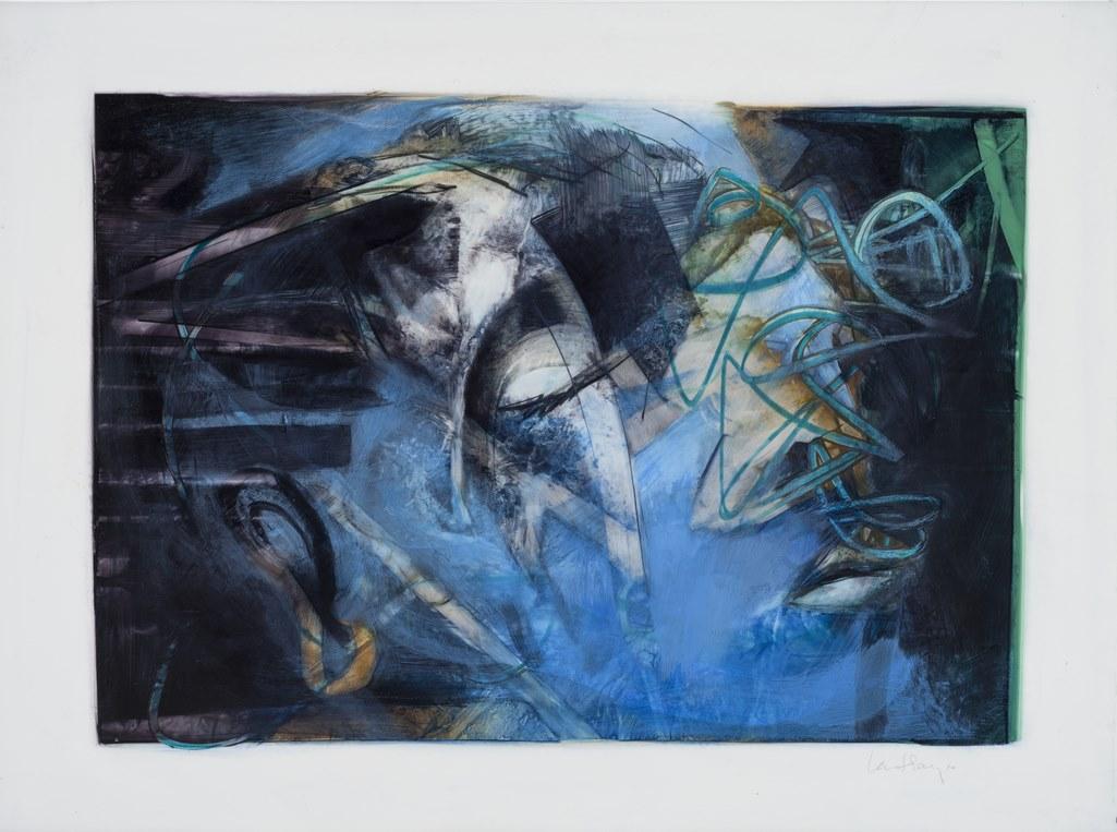 L'abstraction du visage, acryique et crayon sur mylar, 44 x 60 cm, 2018