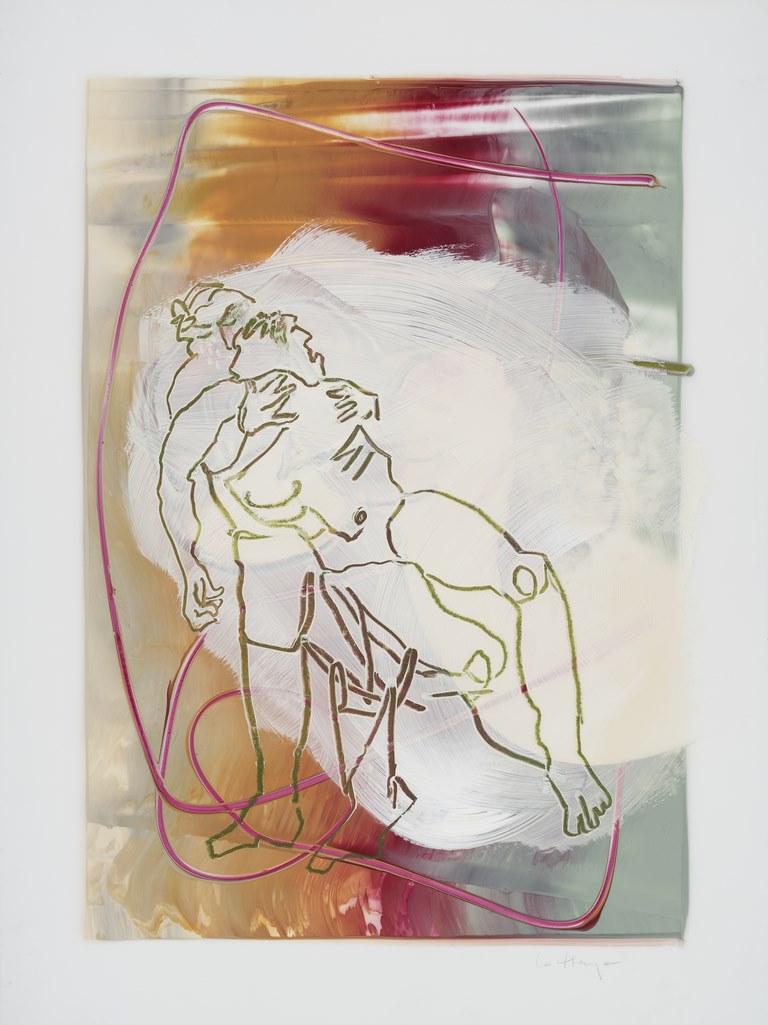 Tout va bien aller, acrylique et crayon sur mylar, 60 x 44 cm, 2018