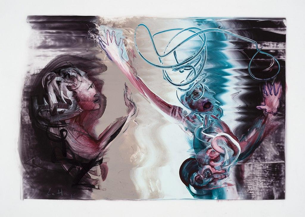 Calme-toi ma soeur, acrylique et crayon sur mylar, 44 x 60 cm, 2016