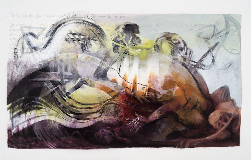 Le Sauvetage, acrylique et crayon sur mylar, 107 x 168 cm, 2017