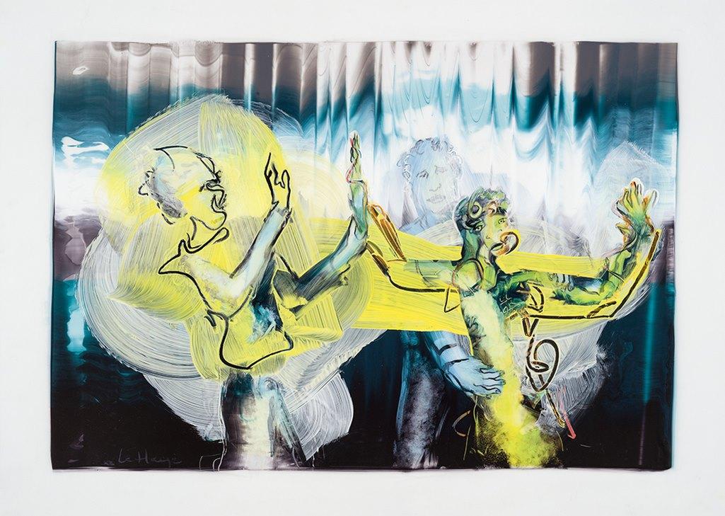 La femme-marionnette, acrylique et crayon sur mylar, 44 x 60 cm, 2016