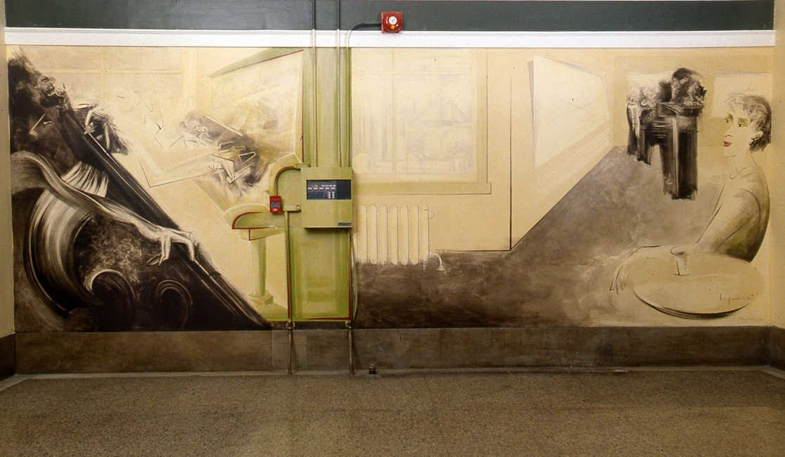 Le piano vert, acrylique sur gypse, hall d'entrée Édifice Belgo, rue Ste-Catherine, Montréal, 2 x 5.7 m