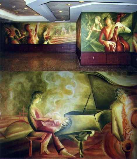 Musiciens (vue partielle et détail), acrylique sur gypse, Complexe Desjardins Tour Nord, Montréal, 2.7 x 15.8 m