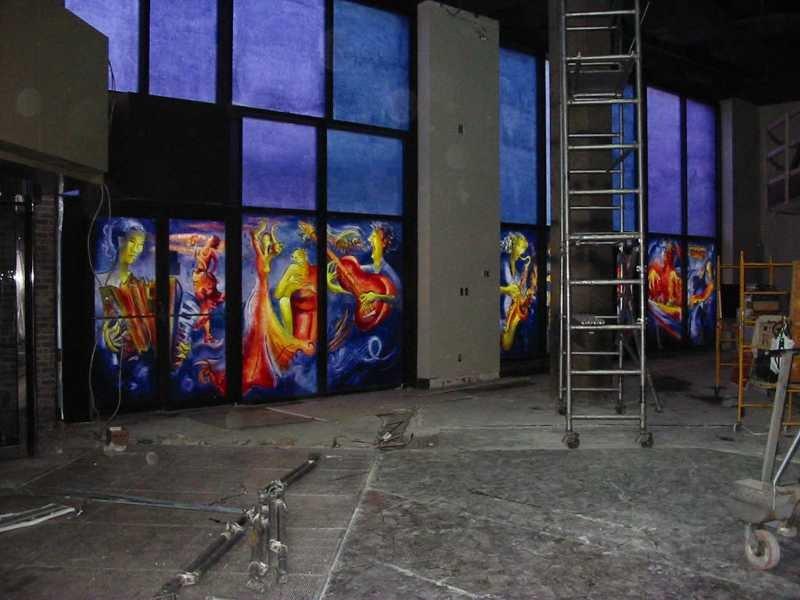 Musiques du monde, acrylique sur verre, Festival International de Jazz de Montréal, 5.2 x 12 m