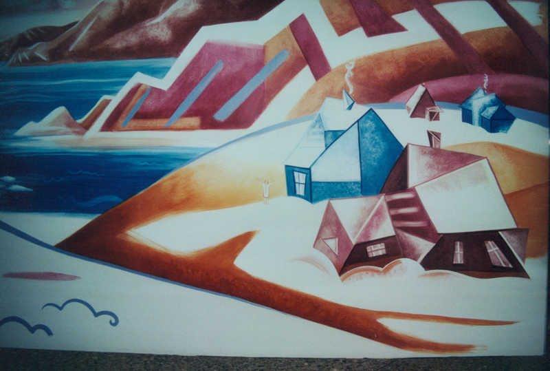 Hiver cubiste (détail), acrylique sur gypse, Complexe Desjardins, Montréal, 2.7 x 19.4 m