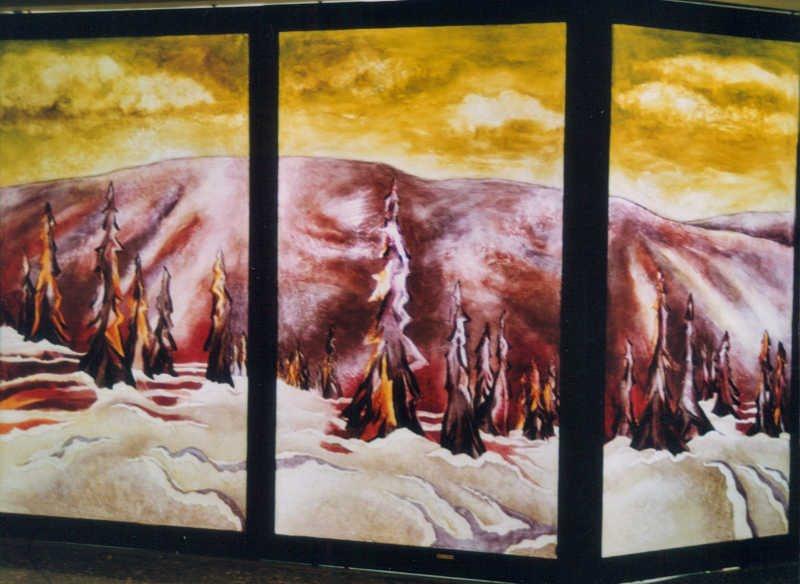 Fol hiver (vue partielle), acrylique sur verre, Complexe Desjardins, Montréal, 2.4 x 5 m
