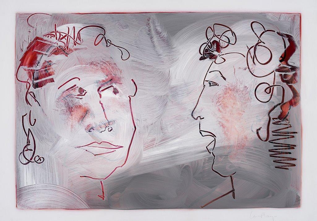 Je ne te crois pas, acrylique et crayon sur mylar, 44 x 59 cm, 2019