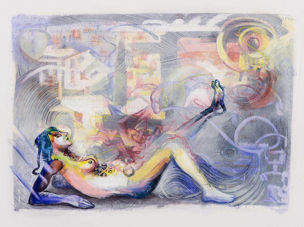 Émerger, acrylique et crayon sur mylar, 108 x 135 cm, 2019