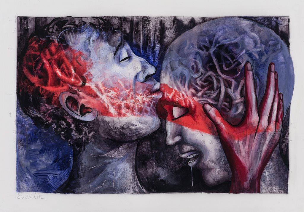 Courage, acrylique et crayon sur mylar, 71 x 101 cm, 2019
