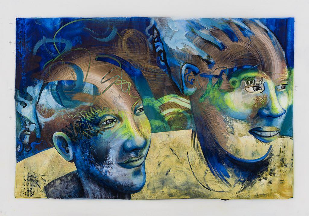 Les deux ensemble, acrylique et crayon sur mylar, 71 x 101 cm, 2019