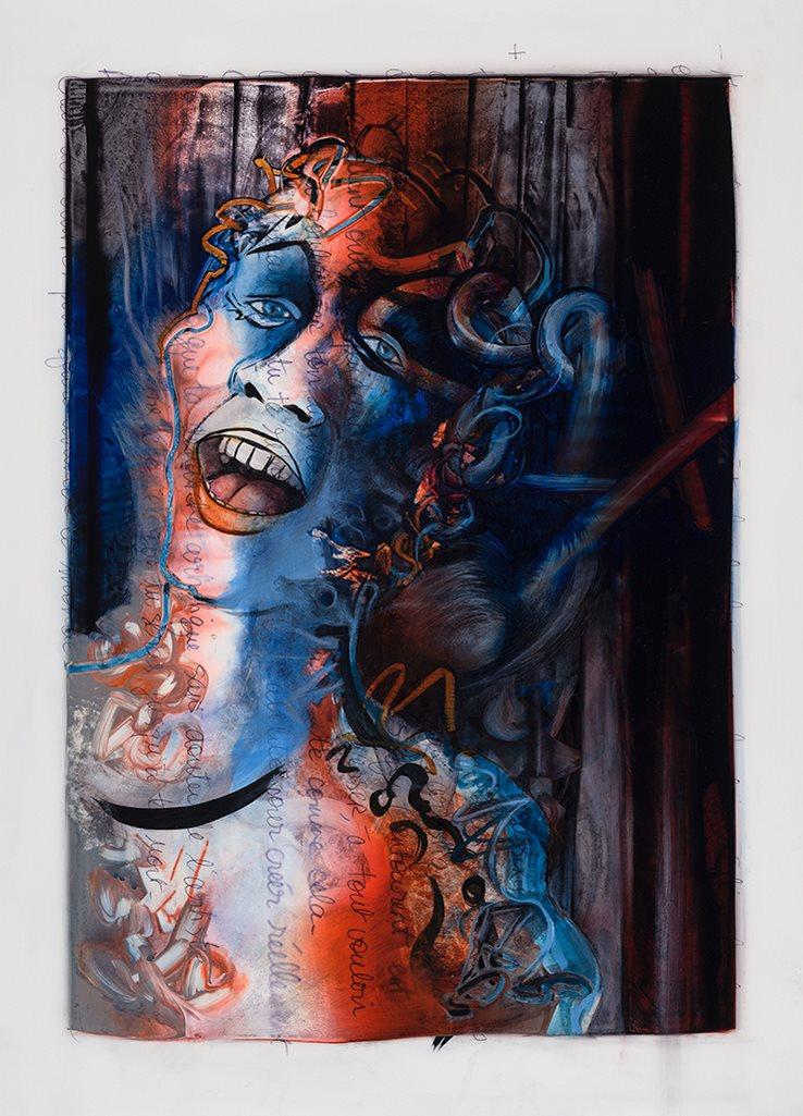 Autoportrait, acrylique et crayon sur mylar, 44 x 59 cm, 2019