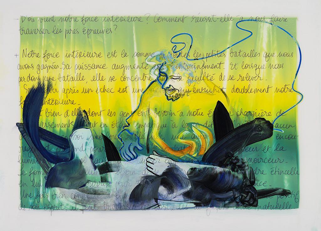 La force intérieure, acrylique et crayon sur mylar, 44 x 59 cm, 2019