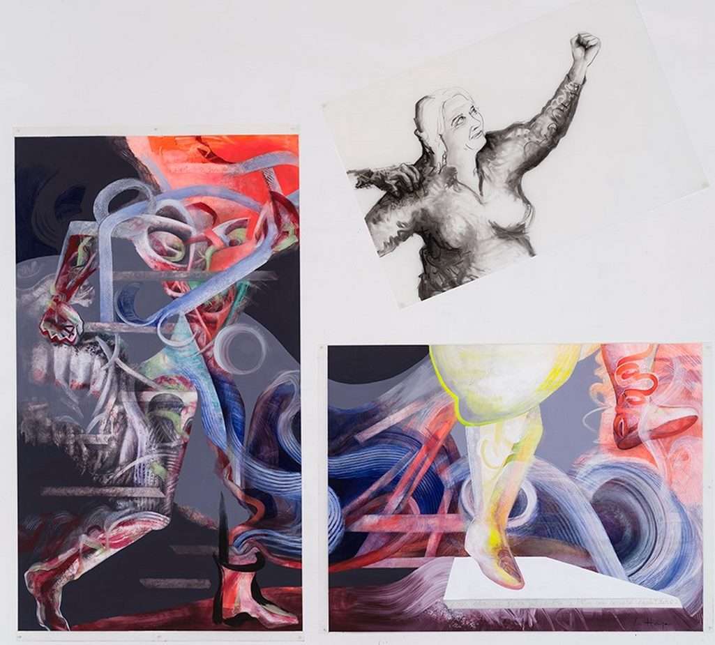 Gender reconstruction, acrylic and crayon on Mylar, 2.5m x 2.5m, 2020