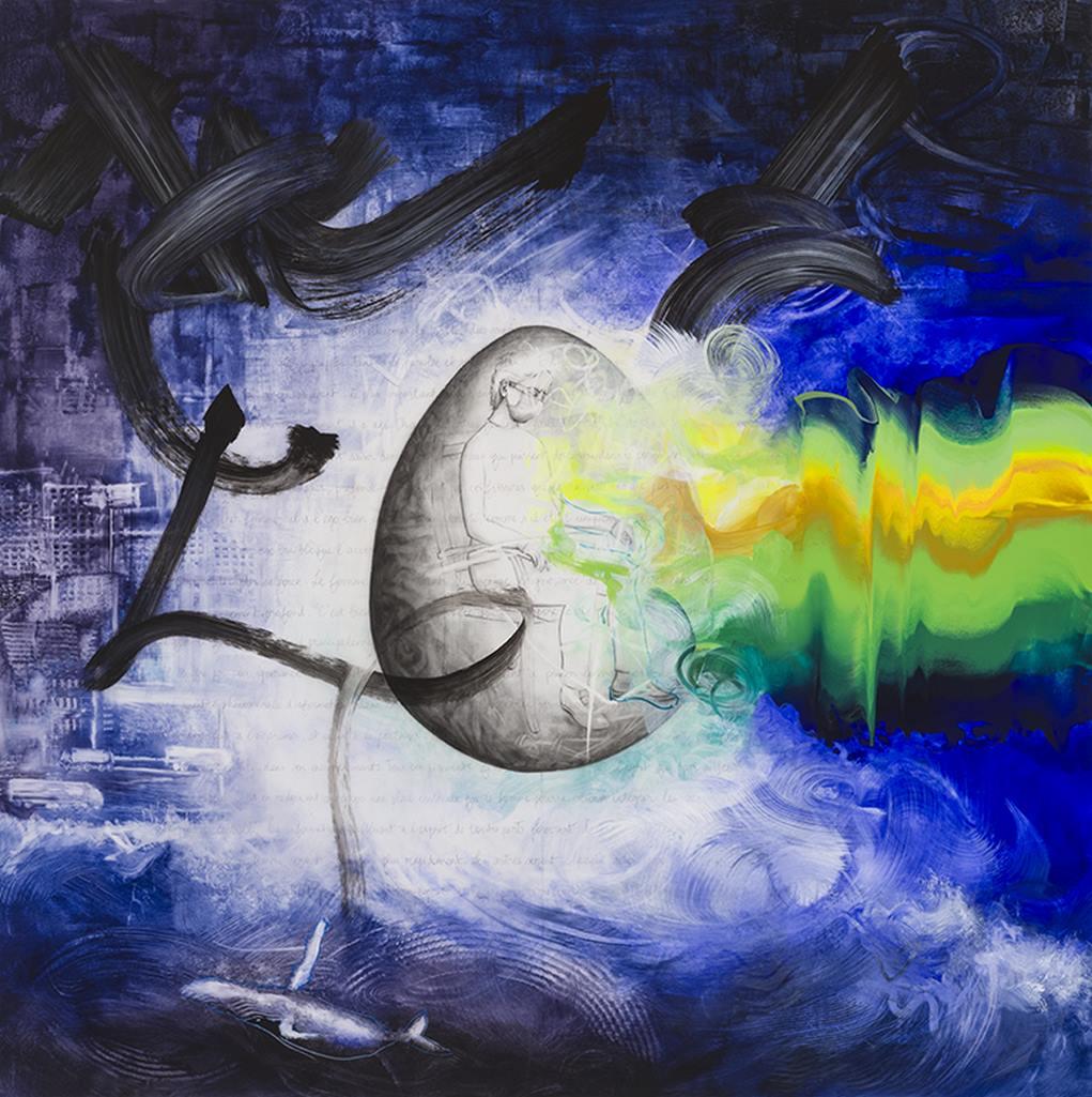 Introspection, acrylique et crayon sur Mylar, 2m x 2m, 2020