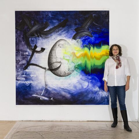 Introspection, acrylic and crayon on Mylar, 2m x 2m, 2020