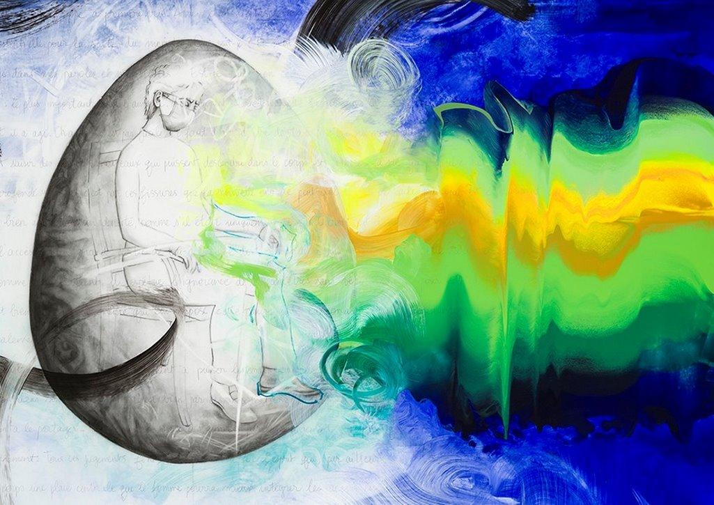 Introspection (détail), acrylique et crayon sur Mylar, 2m x 2m, 2020