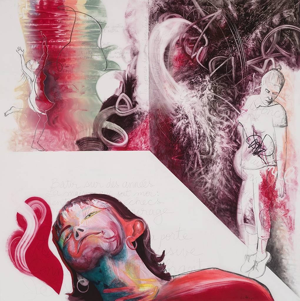 It Hurts, acrylic and crayon on Mylar, 2m x 2m, 2020